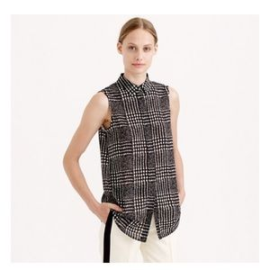 J crew sleeveless blouse in graphic plaid